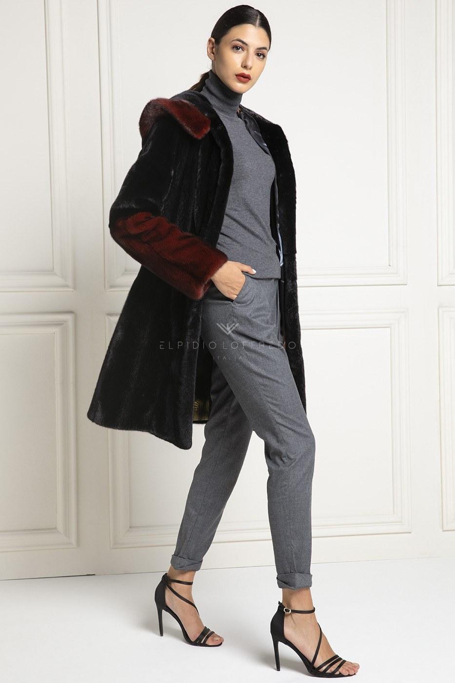 Blackglama Mink Coat with Hood - Length 90 cm