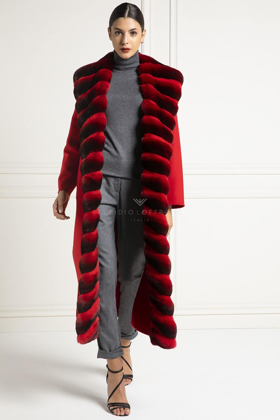 Cashmere Loro Piana Coat with Red Chinchilla Fur