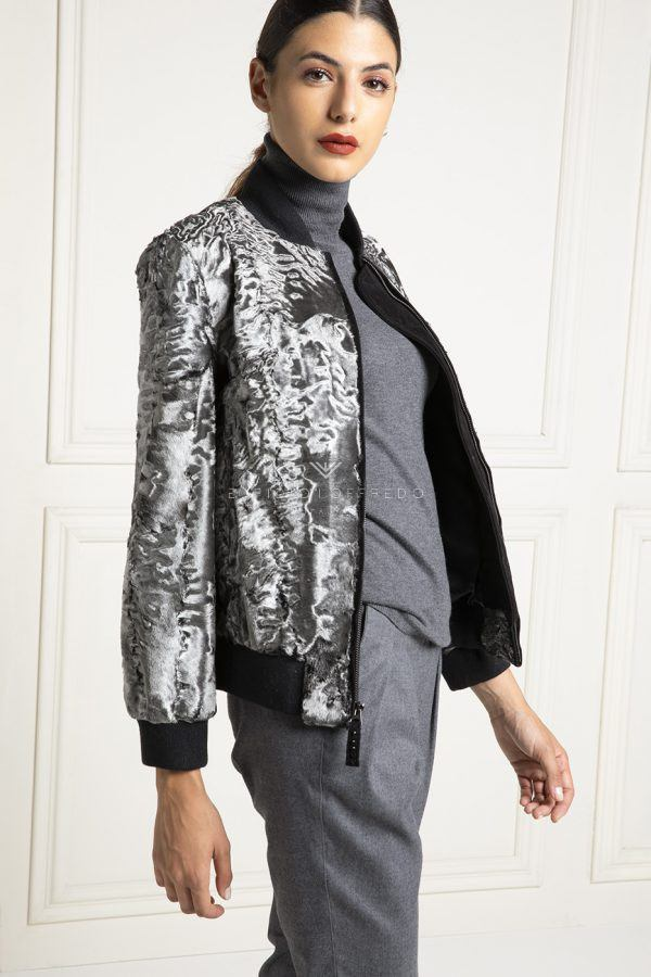 Silver Swakara Bomber with Wool - Length 60 cm
