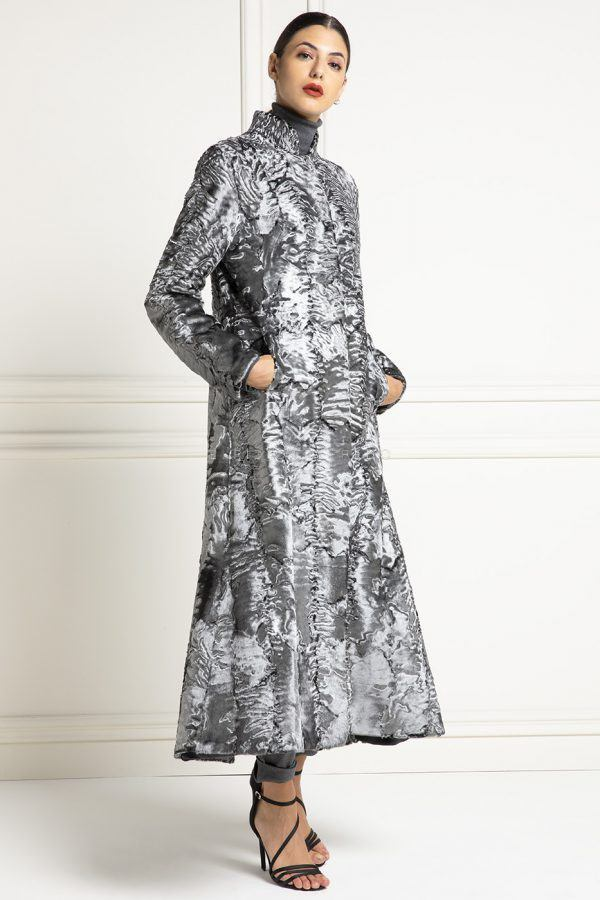 Silver Swakara Fur Coat with Mink - Length 110 cm