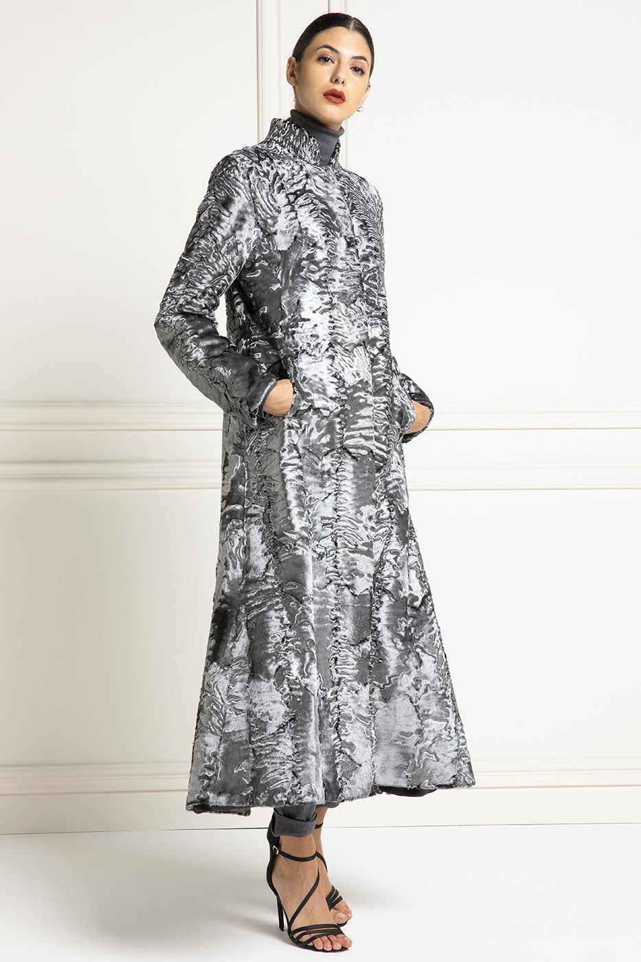 Silver Swakara Coat - Length 130 cm