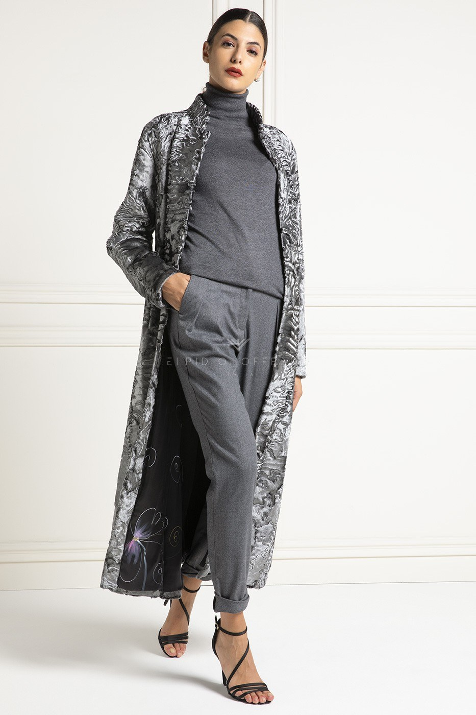 Silver Swakara Coat - Length 130 cm
