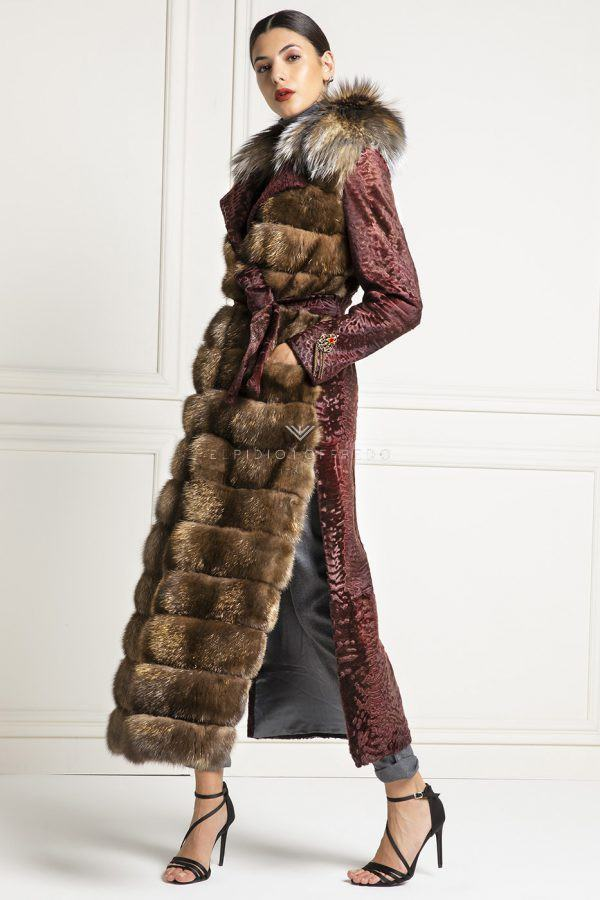 Gold Barguzinsky Russian Sable Coat with Swakara and Fox
