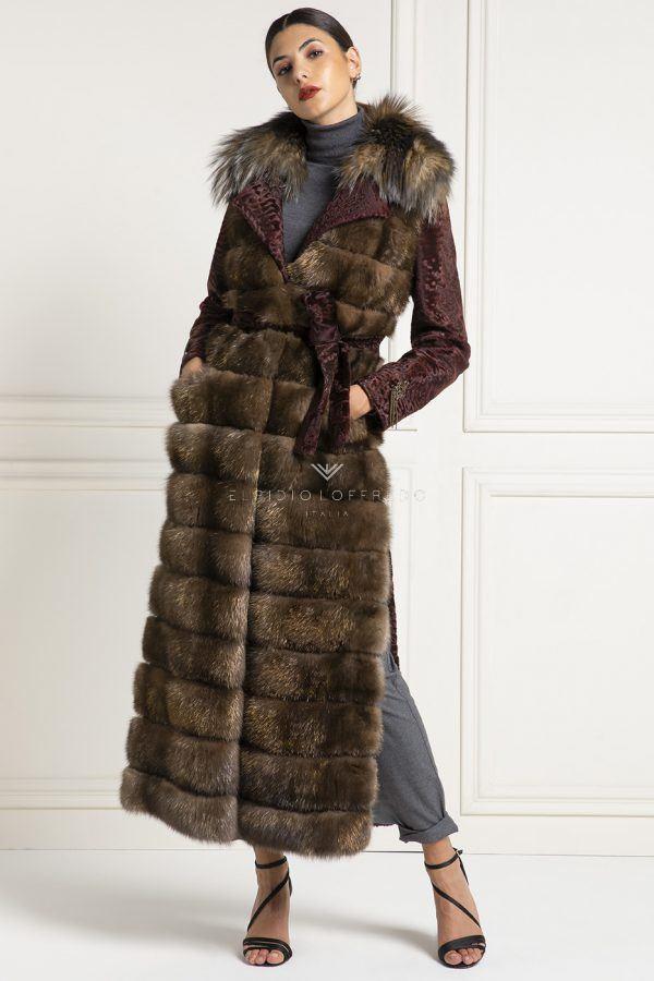 Cappotto di Zibellino Russo Barguzinsky con Swakara Gold e Volpe
