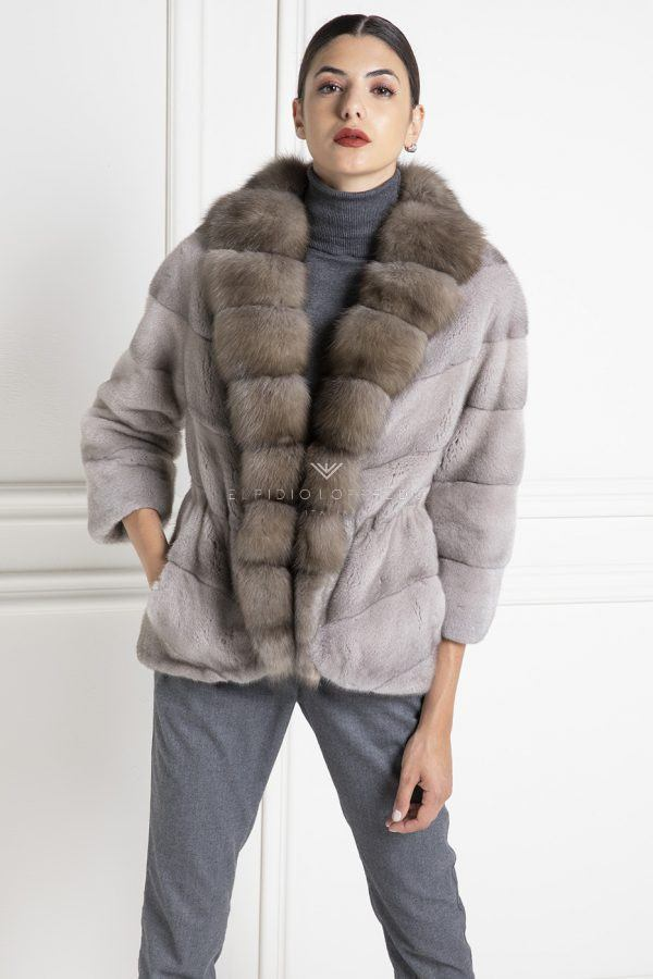 Silverblue Mink Jacket with Russian Sable Bargyuzinsky - Length 70 cm