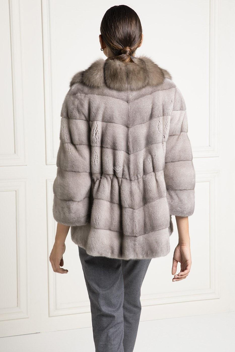 Giacca di Visone Silverblue con Zibellino - Lunghezza 70 cm
