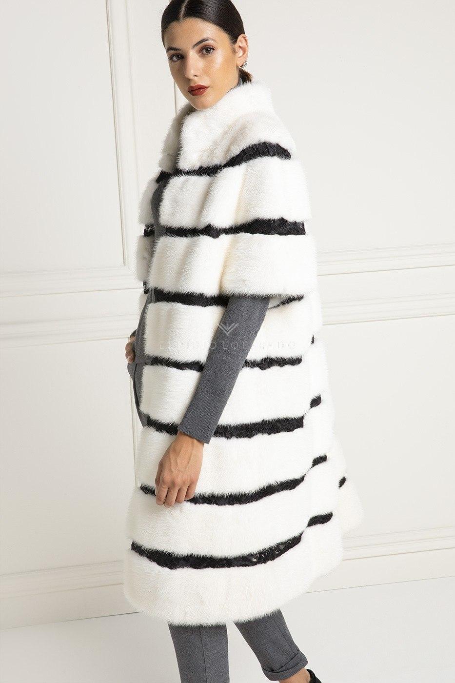 Cappotto di Visone con Pizzo - Lunghezza 100 cm