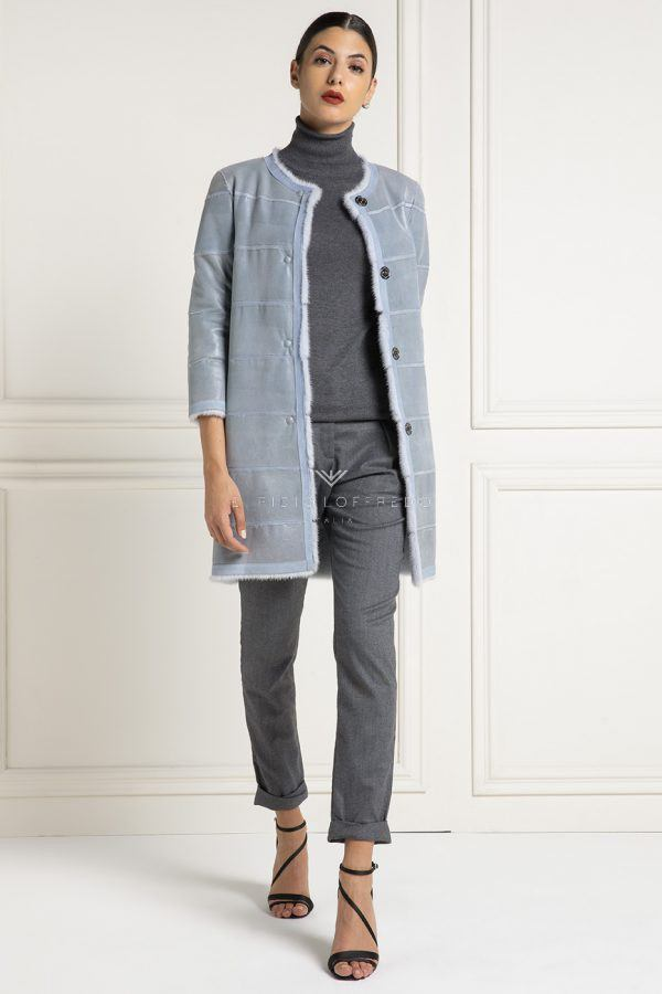 Cappotto di Visone Celeste Double Face - Lunghezza 80 cm