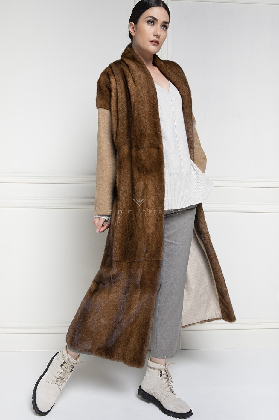 Cashmere Loro Piana Coat with Honey Mink Fur - Length 130 cm