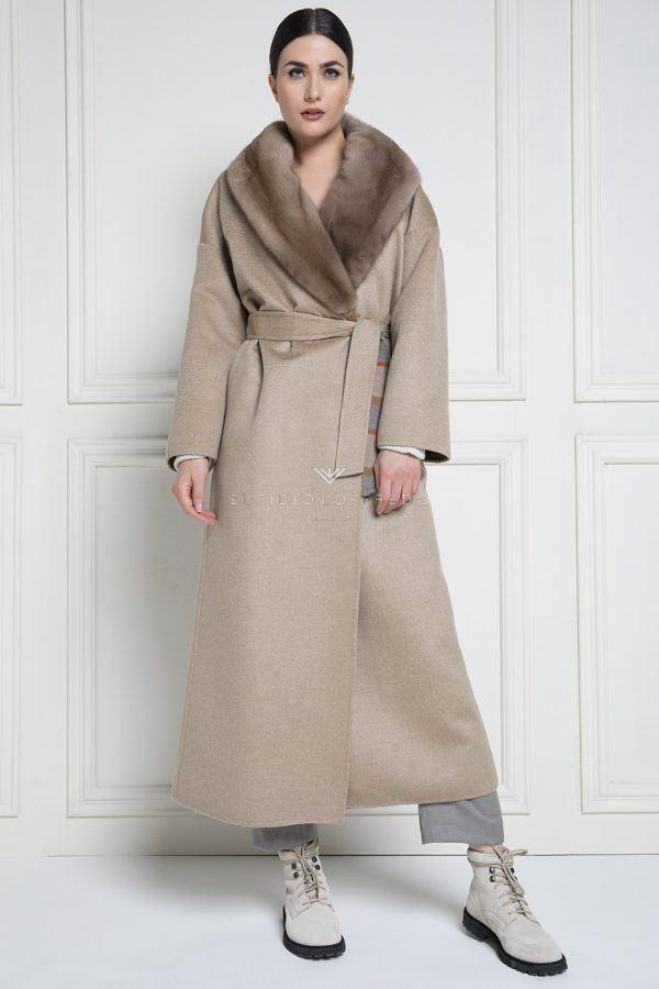 Cappotto di Cashmere Loro Piana con Pelliccia di Visone - Lunghezza 130 cm