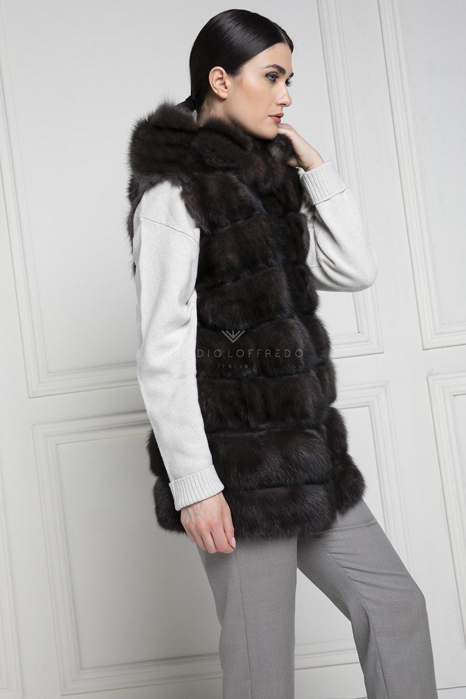 Satin Parka with Barguzinsky Russian Sable Vest - Dark Color