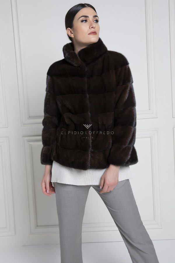 Giacca di Visone Marrone con Collo Rotondo - Lunghezza 65 cm