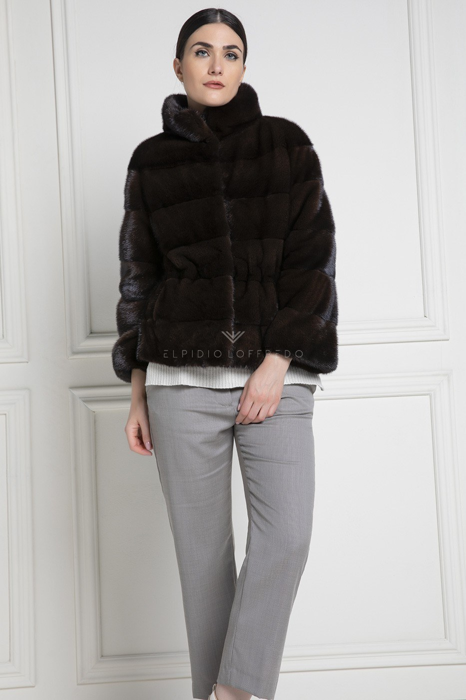 Brown Mink Jacket with Round Collar - Length 65 cm