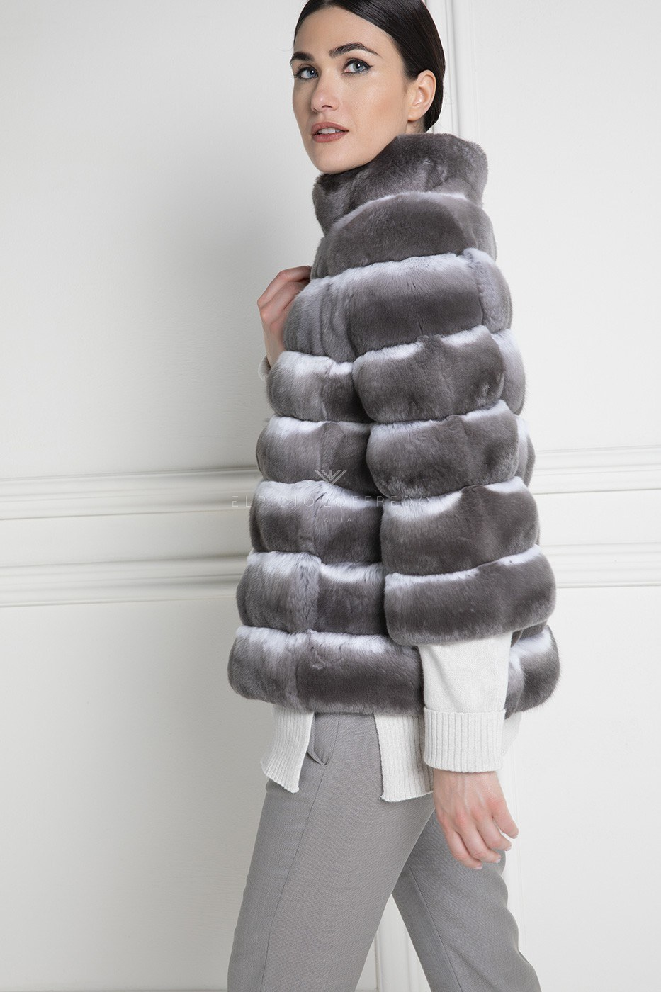 Violet Chinchilla Fur Jacket with Round Collar - Length 65 cm