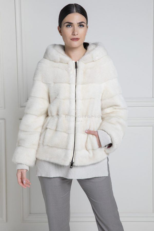 Pearl Mink Jacket with hood - Length 60 cm