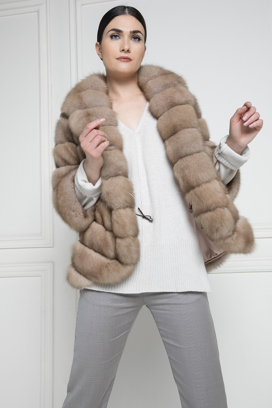 Barguzinsky Russian Sable Fur - Madreperla Color - Length 70 cm