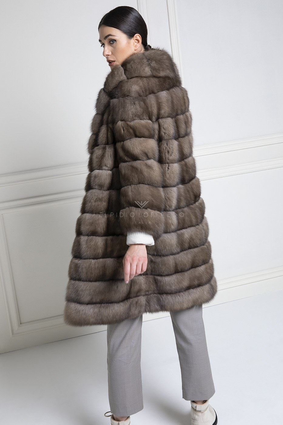 Barguzinsky Russian Sable Fur Coat - Titanio Color - Length 90 cm