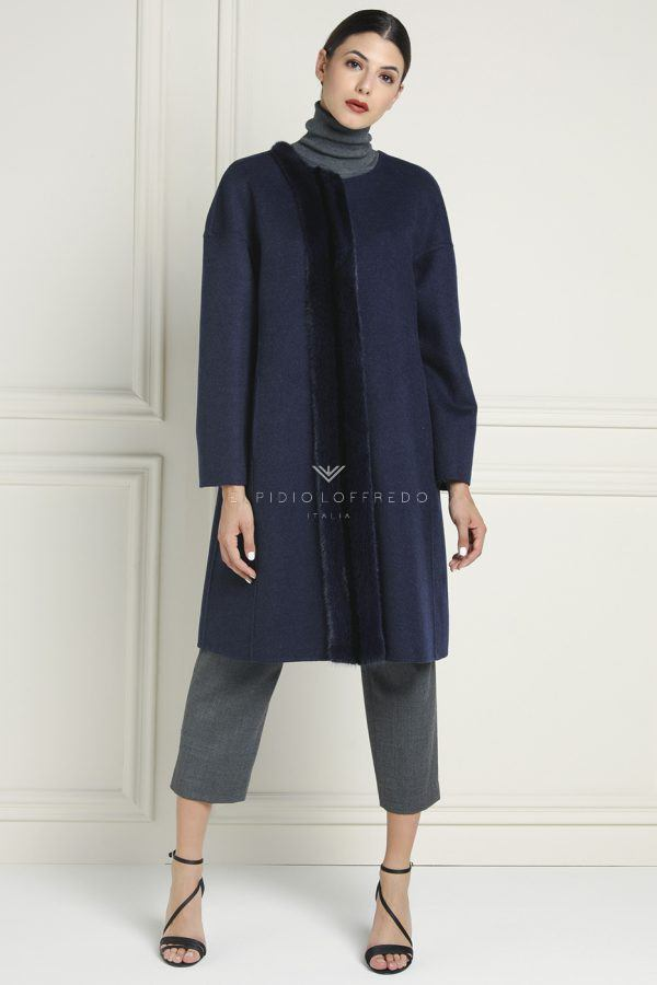Cashmere Loro Piana Coat with Mink Fur and Plat Collar - Length 95 cm