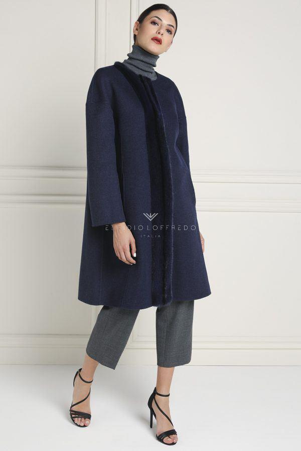 Cappotto di Cashmere Loro Piana con Pelliccia di Visone - Lunghezza 95 cm