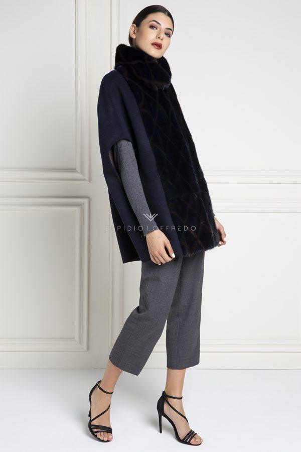 Mantella di Cashmere Loro Piana con Pelliccia di Visone - Lunghezza 75 cm