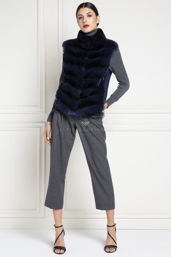 Cashmere Loro Piana Coat with Chinchilla Fur - Length 90 cm