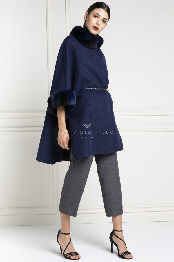 Cashmere Loro Piana Coat with Blue Chinchilla Fur - Length 85 cm