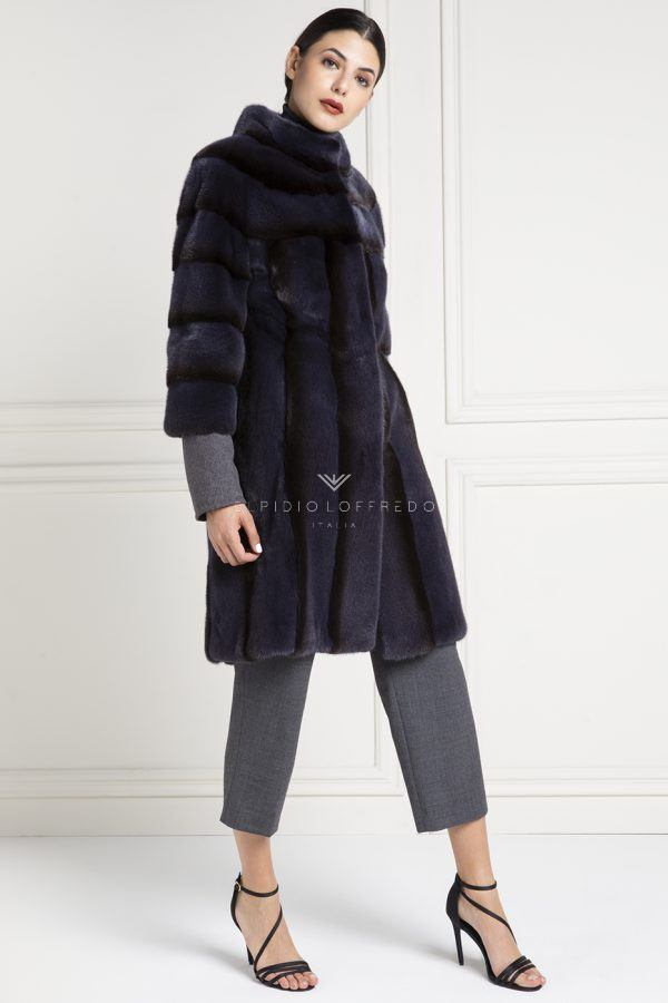 Mink Fur with Round Collar - Length 100 cm
