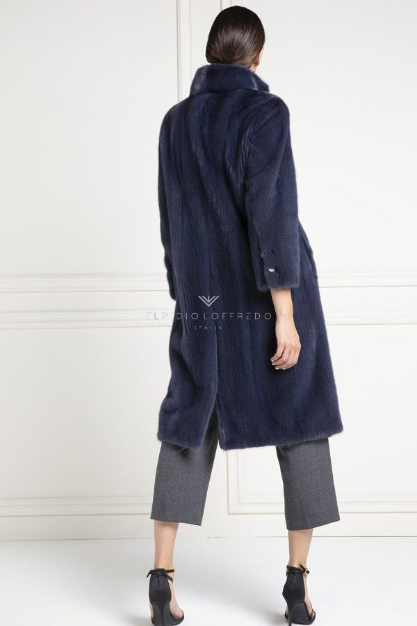 Mink Coat with Rever Collar - Length 100 cm
