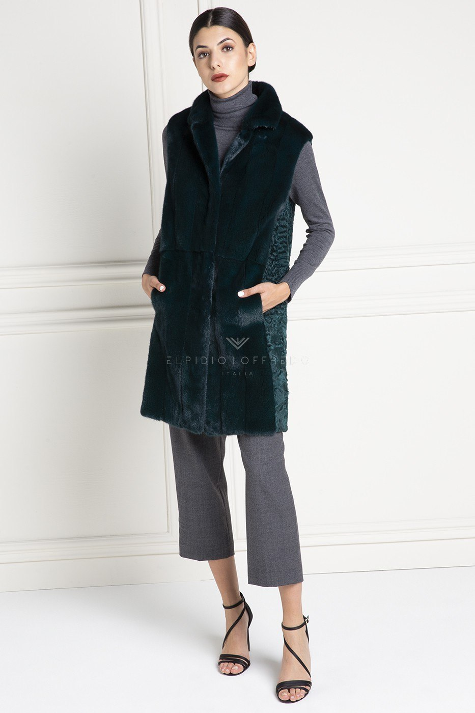 Green Swakara Fur Vest - Length 80 cm