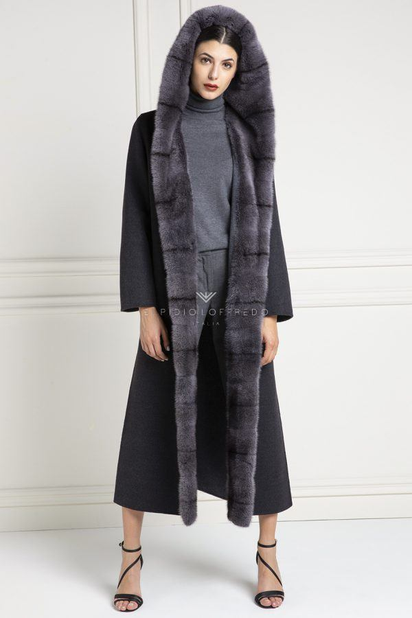 Cashmere Loro Piana Coat with Mink Fur and hoodie