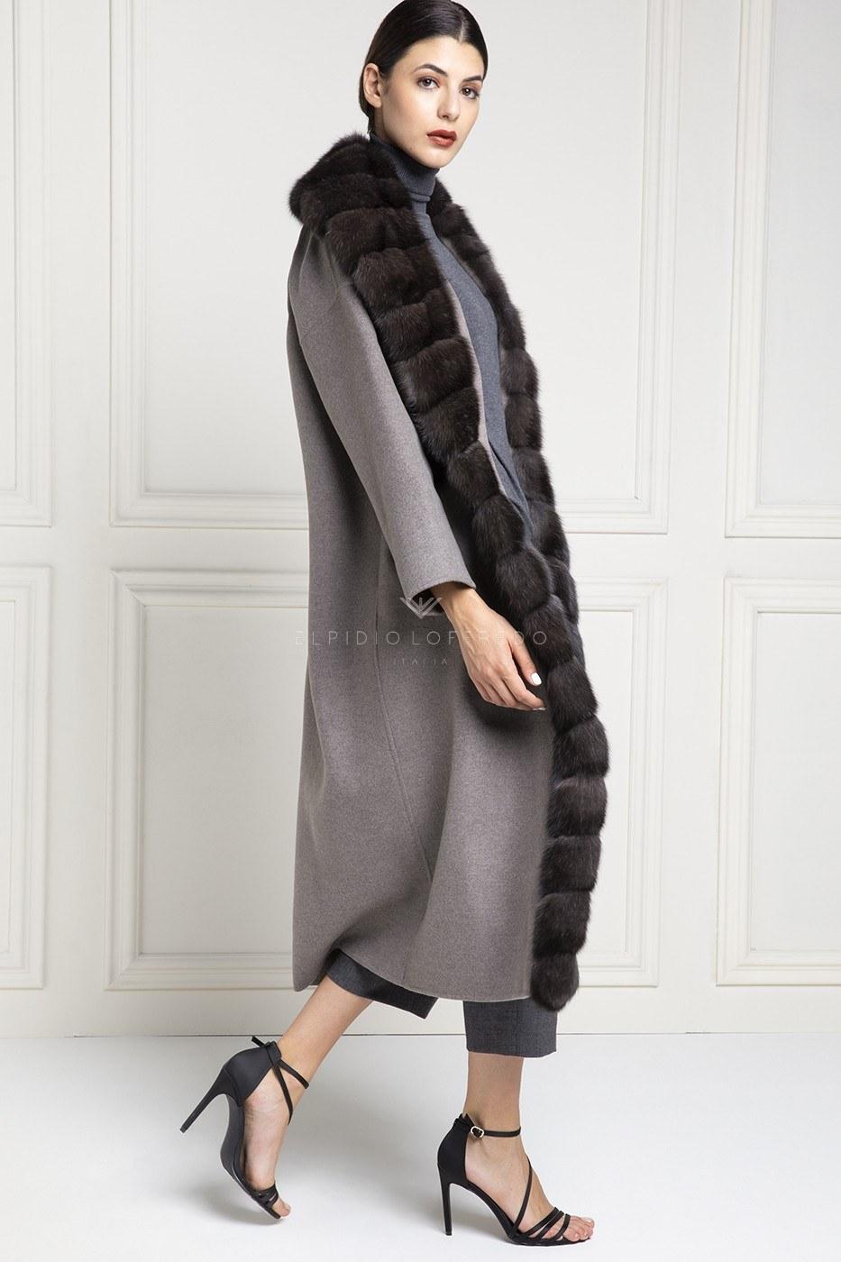 Cashmere Loro Piana Coat with Barguzinsky Russian Sable Fur and Shawl Collar