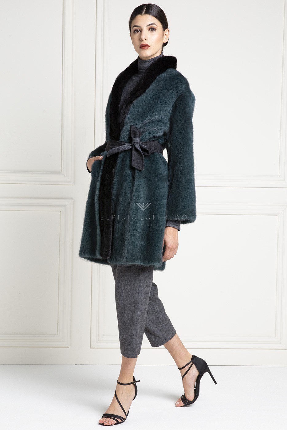 Green Mink Coat - Length 90 cm