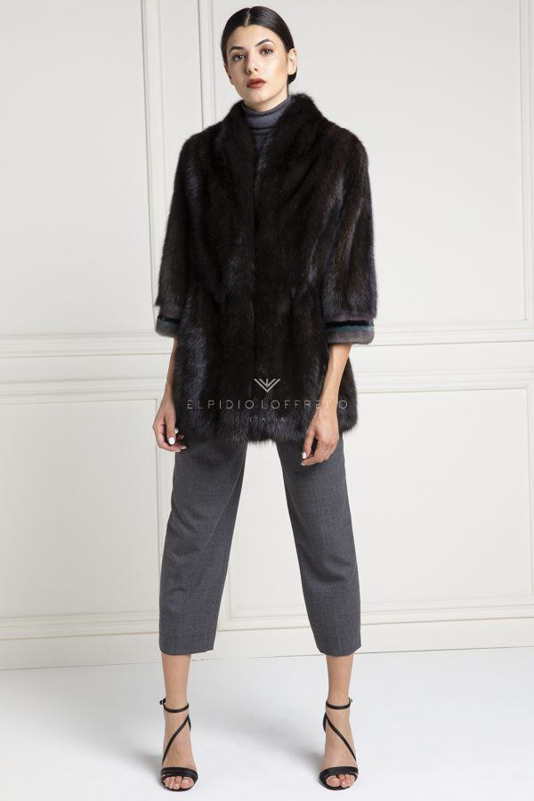 Silvery 2 Barguzinsky Russian Sable with Female Mink Fur - Grafite Color - Length 70 cm