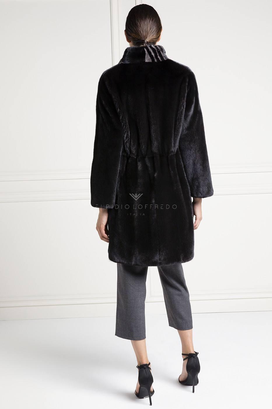 Cappotto di Visone Blackglama con Collo Sciallato - Lunghezza 90 cm