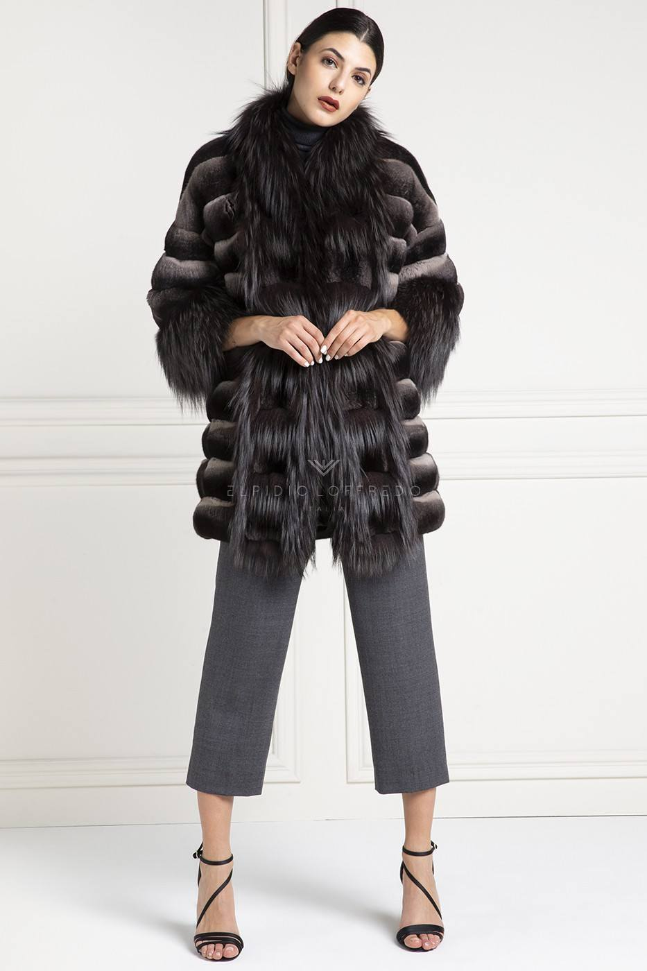 Chinchilla with Fox Fur Coat - Length 80 cm