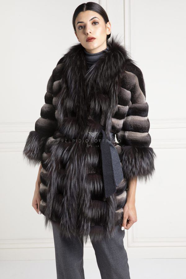 Swakara Fur with Mink and shawl collar - Length 60 cm