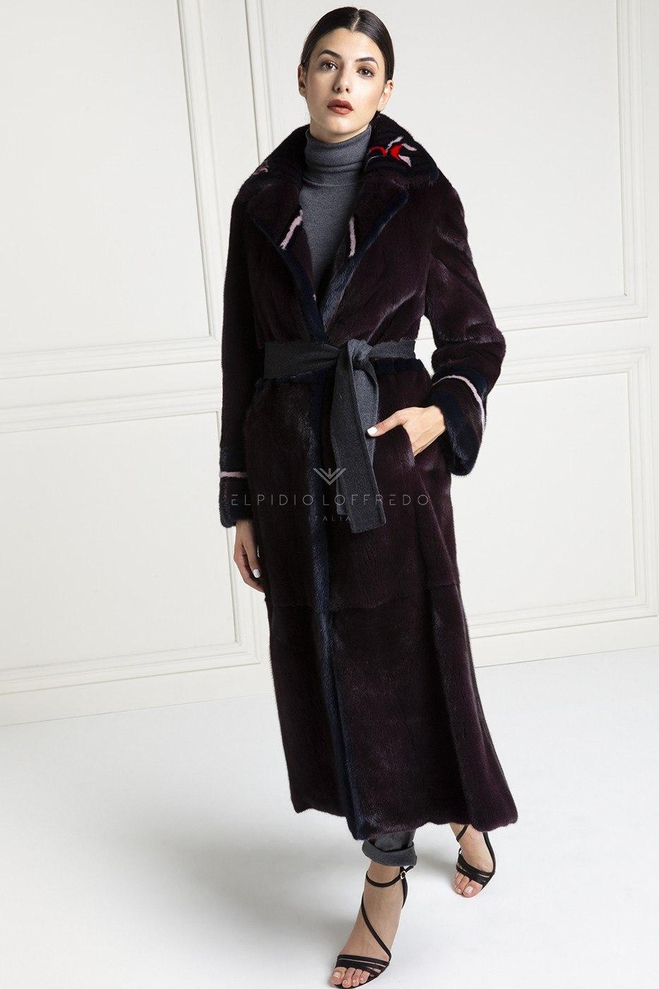 Female Mink Coat Purple Color - Length 130 cm