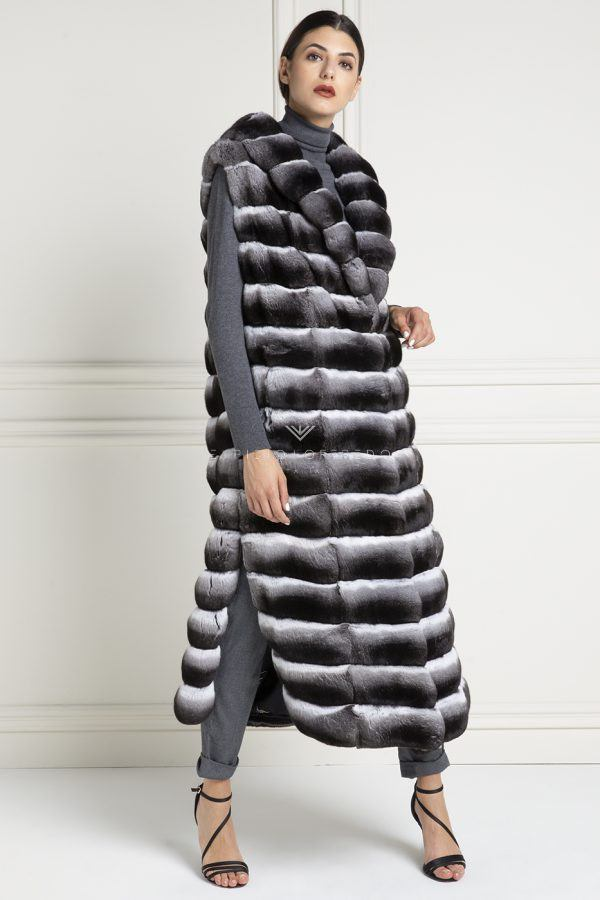 Natural Chinchilla Fur Vest - Length 130 cm