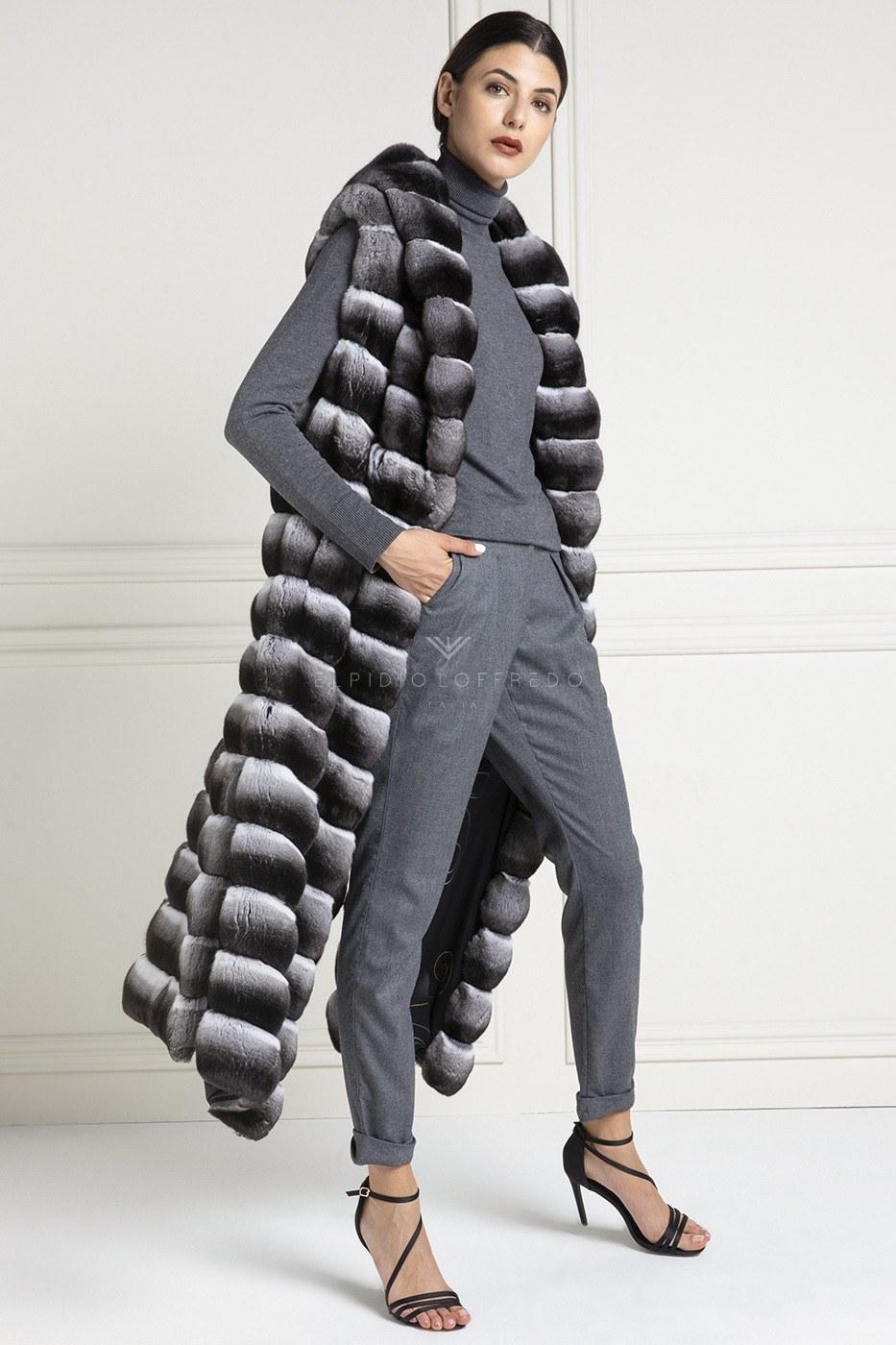 Natural Chinchilla Fur Vest - Length 130 cm