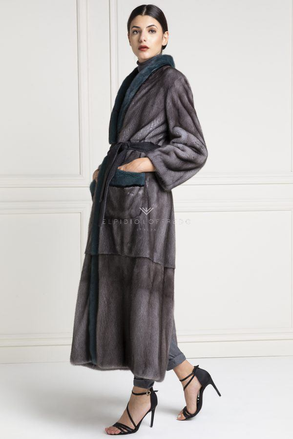 Blue Iris Mink Coat - Length 130 cm