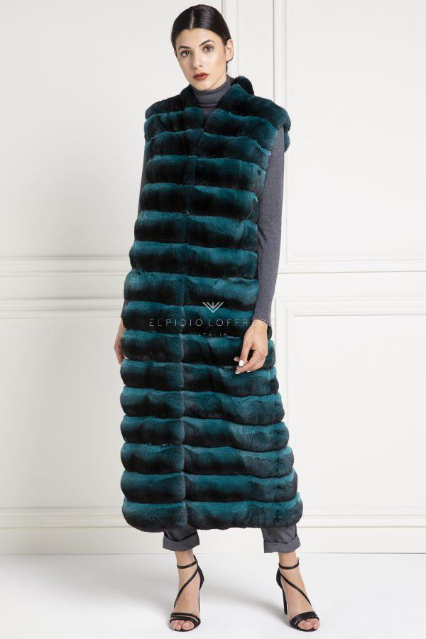 Green Chinchilla Fur Vest - Length 130 cm
