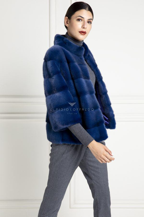 Blue Mink Jacket - Length 65 cm