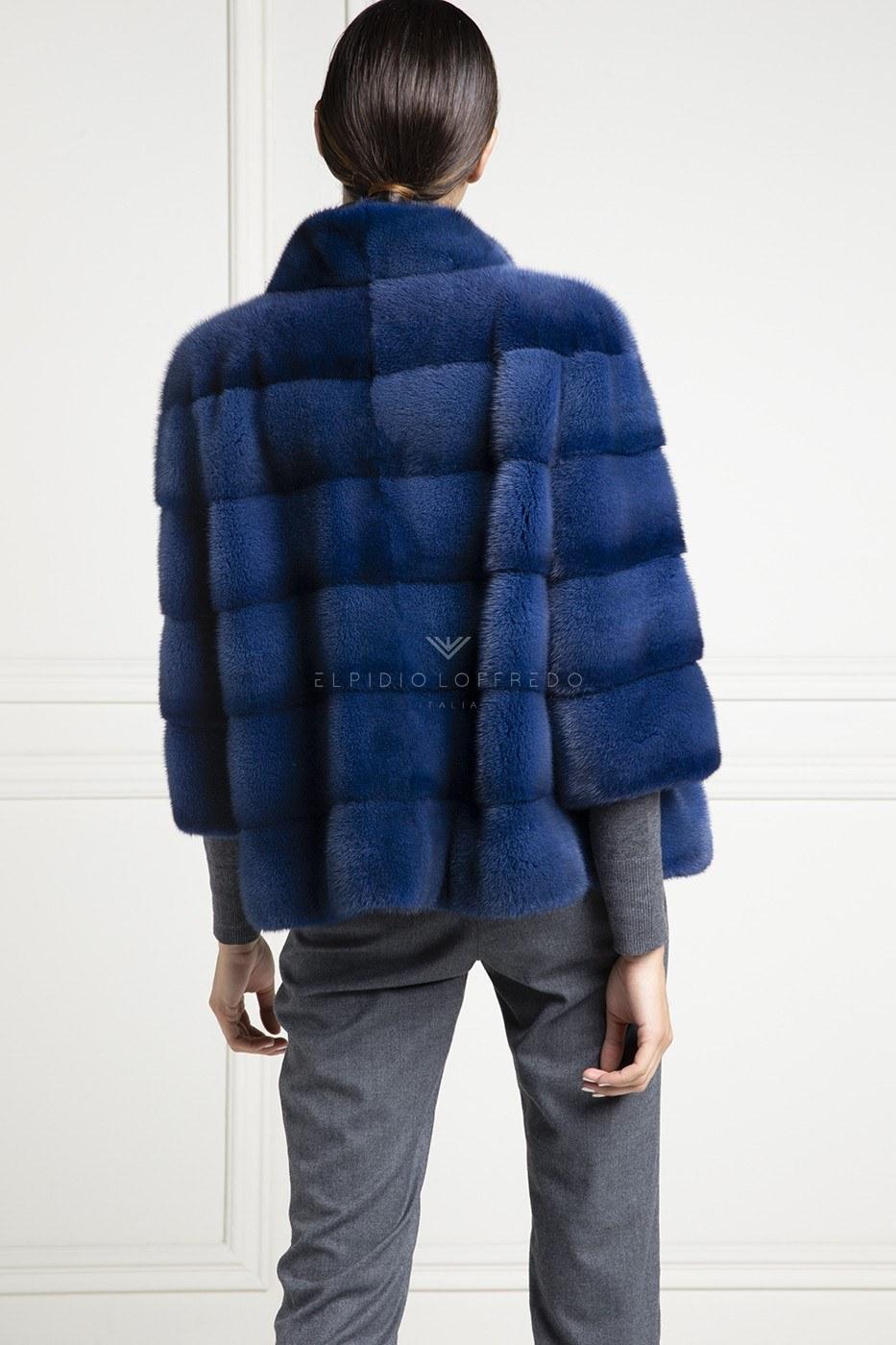 Giacca di Visone Blue con Collo Rotondo - Lunghezza 65