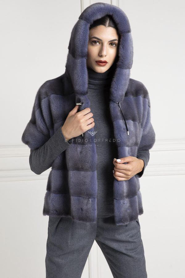 Blue Jeans Mink Jacket with Hood - Length 60 cm