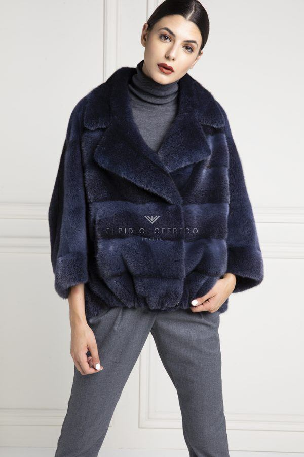 Blue Mink Jacket with Rever Collar - Length 70 cm