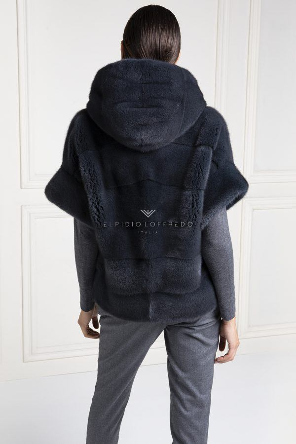 Grey Mink Jacket with Hood - Length 70 cm