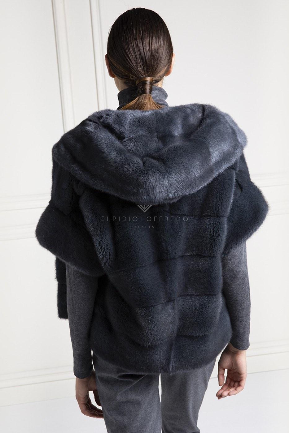 Giacca di Visone Grigio con Cappuccio - Lunghezza 70 cm