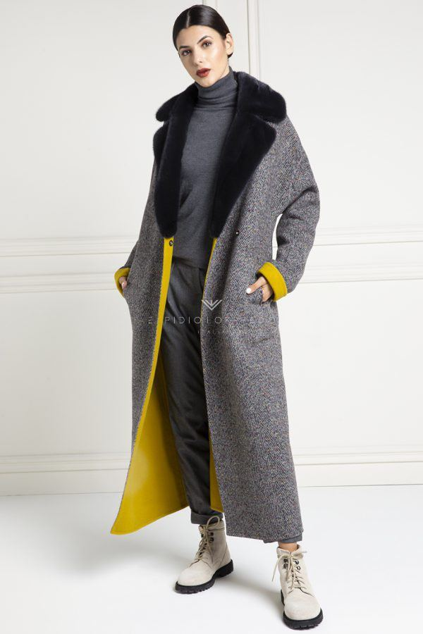 Cashmere Loro Piana Coat with Blue Mink - Length 130 cm