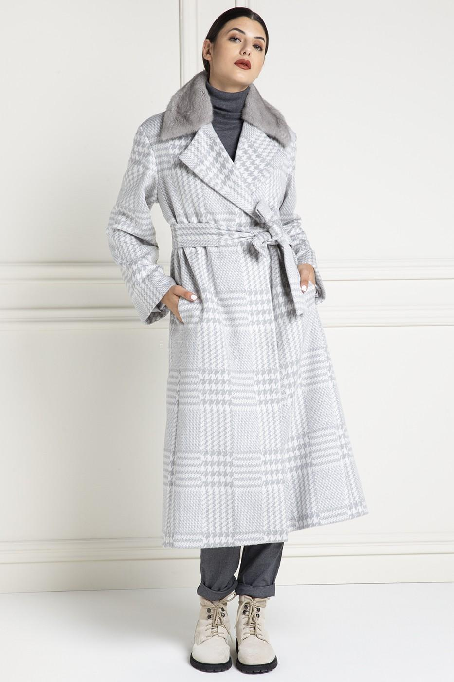 Cashmere Loro Piana Coat with Mink Fur and Shawl Collar - Grey Color