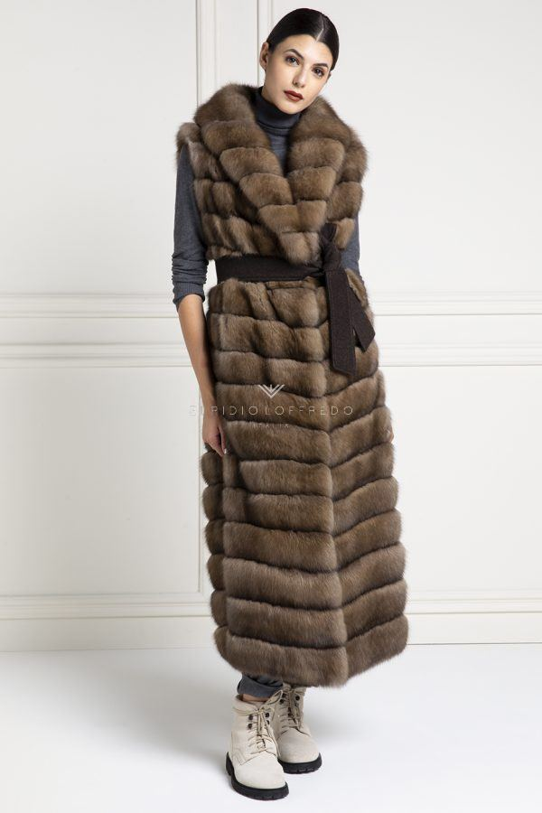 Barguzinsky Russian Sable Vest - Titanio Color - Length 130 cm